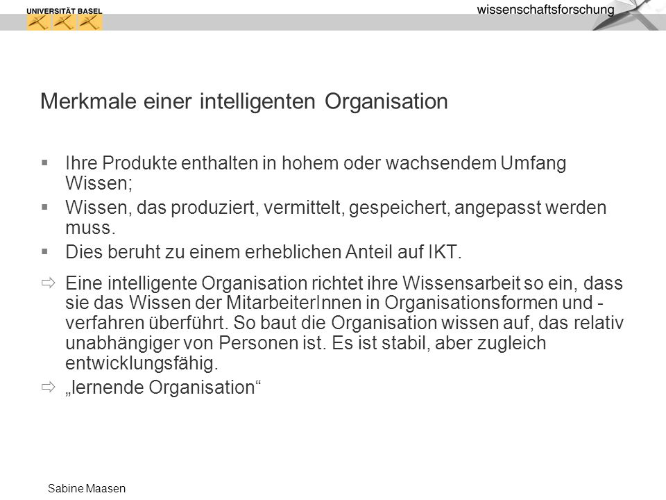 Merkmale einer intelligenten Organisation