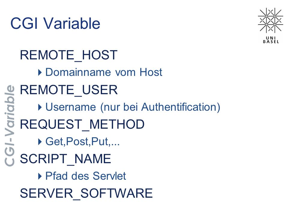 CGI Variable REMOTE_HOST REMOTE_USER REQUEST_METHOD SCRIPT_NAME