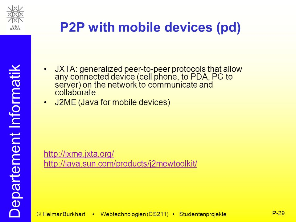 P2P with mobile devices (pd)