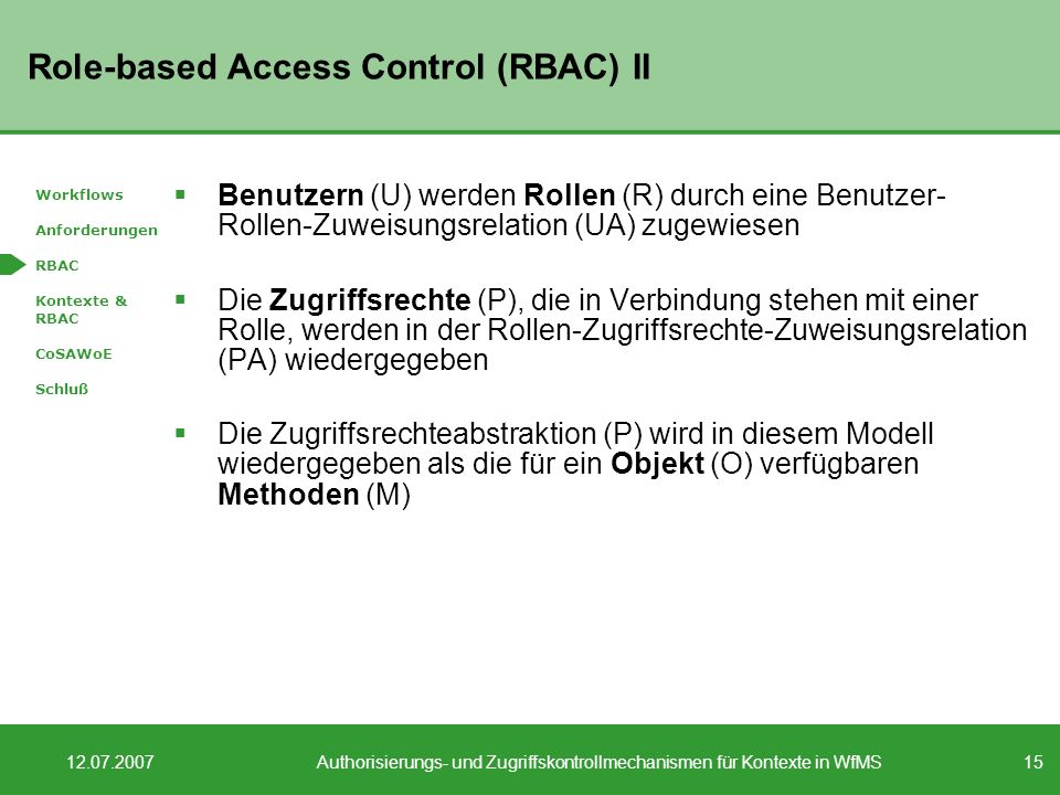 Role-based Access Control (RBAC) II