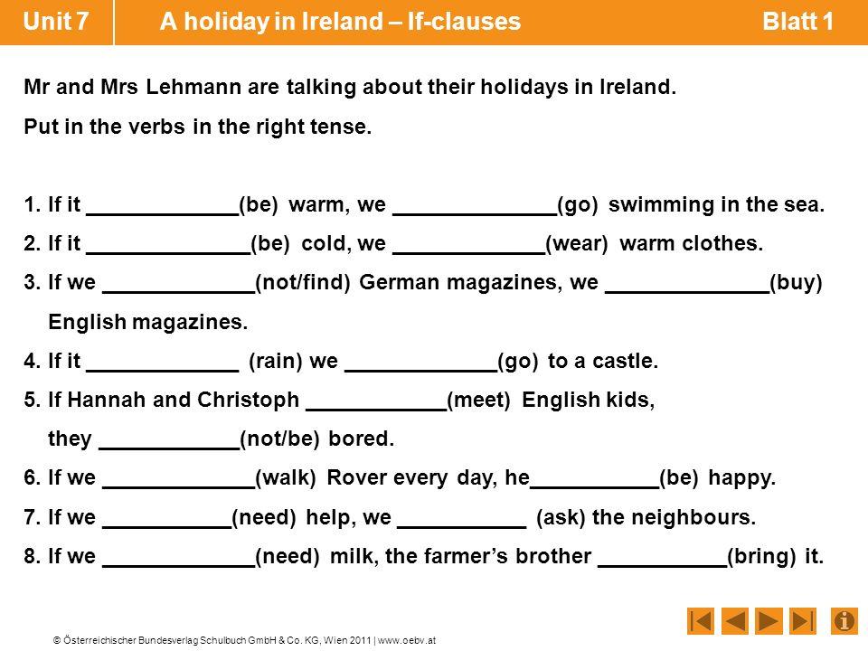 unit 7 a holiday in ireland if clauses blatt 1 - If Satze Beispiele