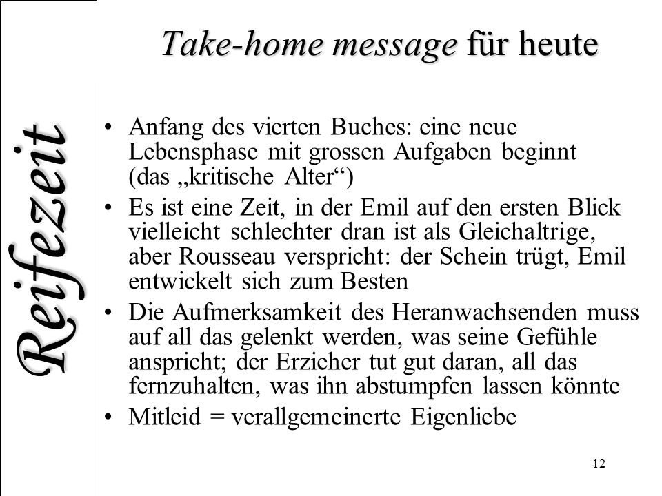 Take-home message für heute