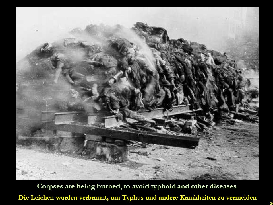 Corpses are being burned, to avoid typhoid and other diseases
