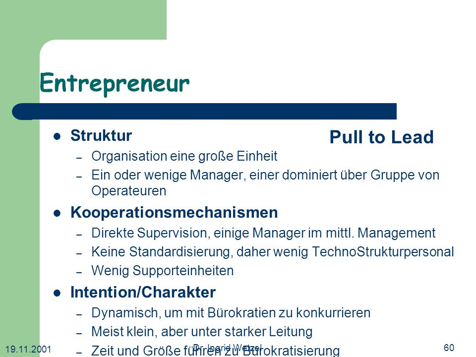 Entrepreneur Pull to Lead Struktur Kooperationsmechanismen