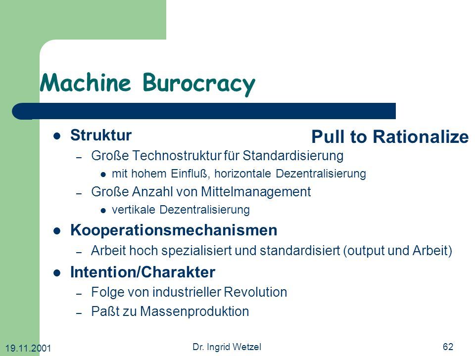 Machine Burocracy Pull to Rationalize Struktur Kooperationsmechanismen