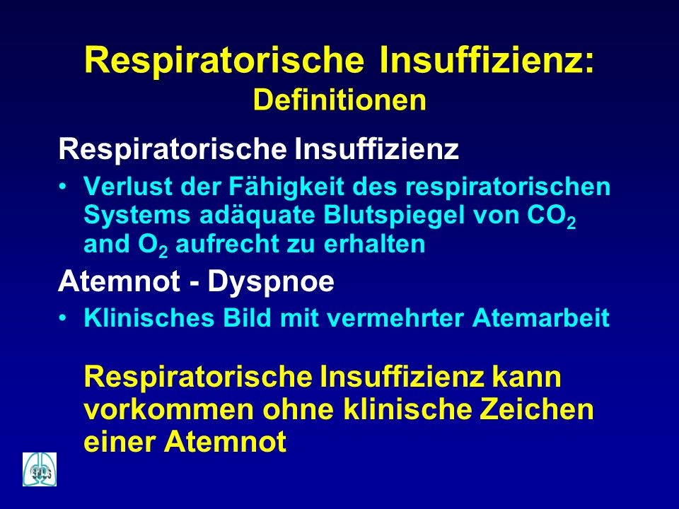 Respiratorische Insuffizienz: Definitionen