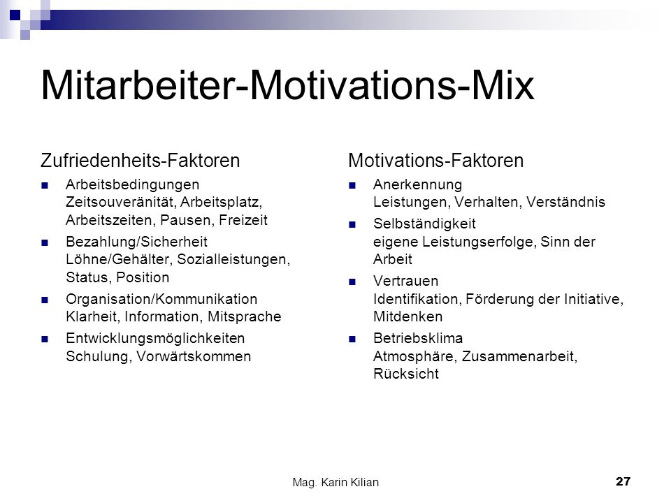 Mitarbeiter-Motivations-Mix