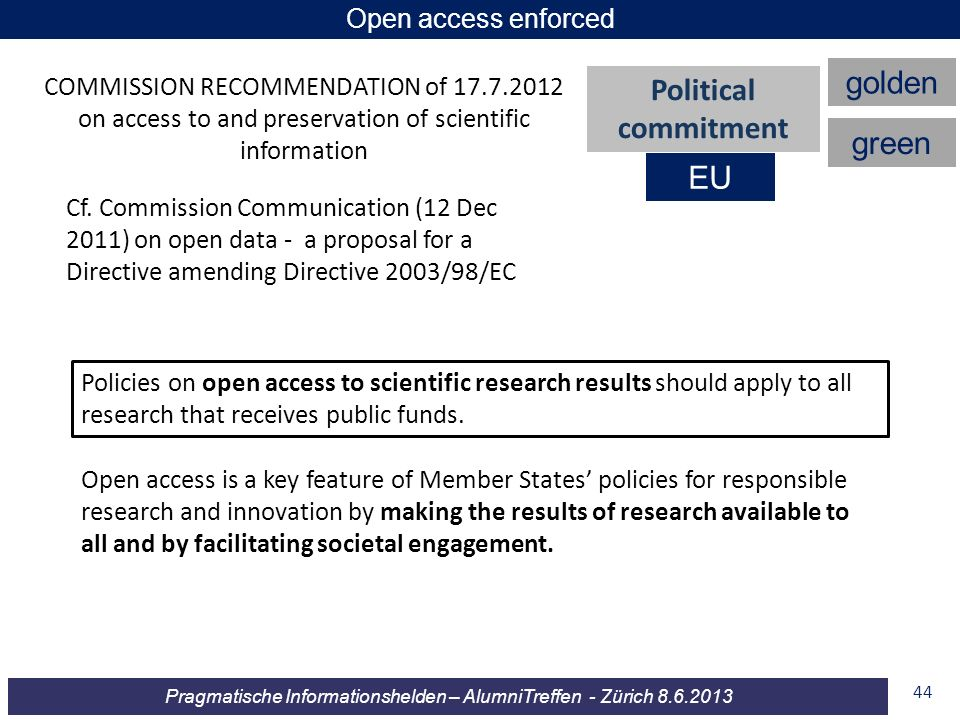 golden Political commitment green EU Open access enforced