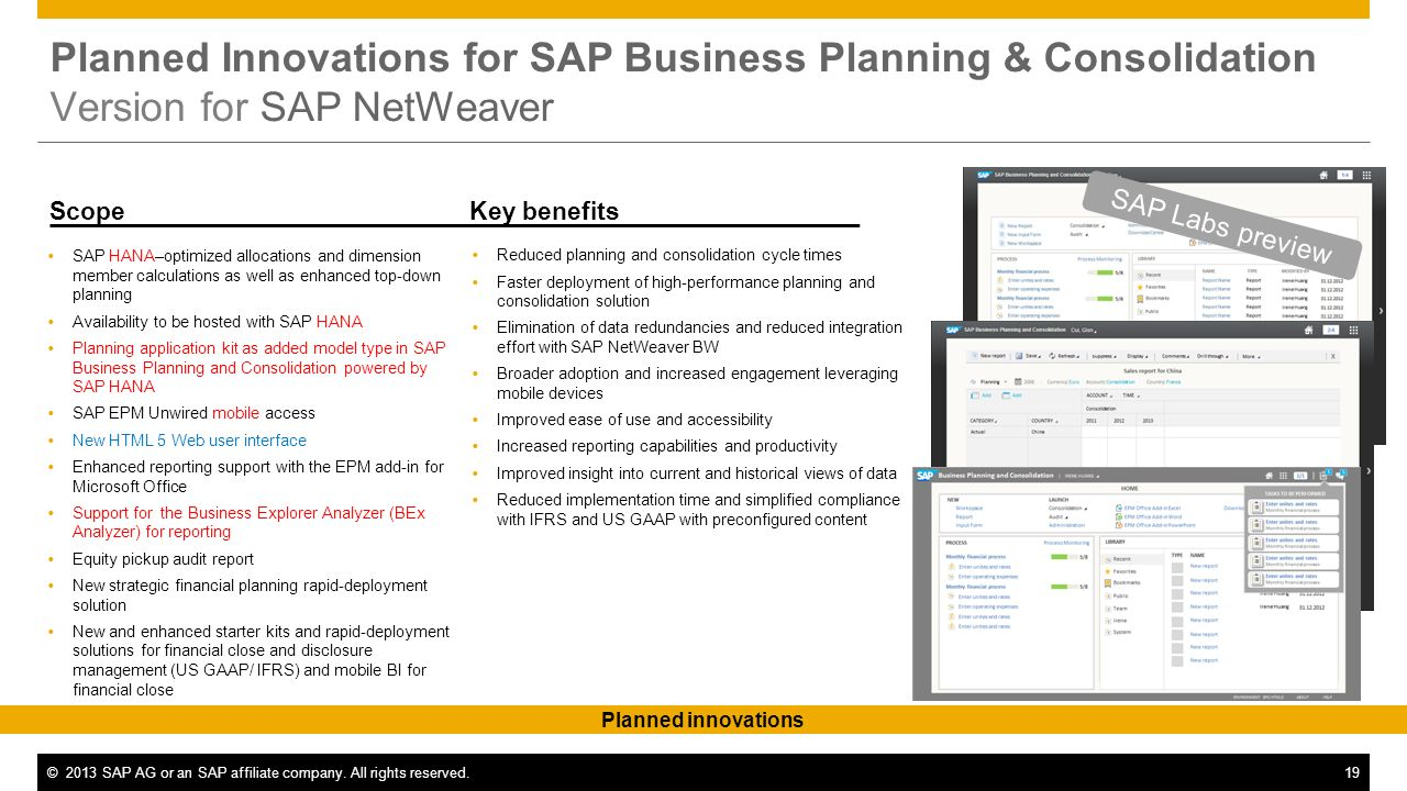 Planned Innovations for SAP Business Planning & Consolidation