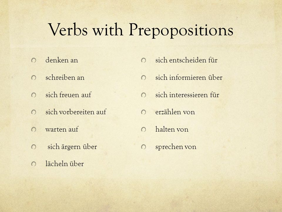 Verbs with Prepopositions