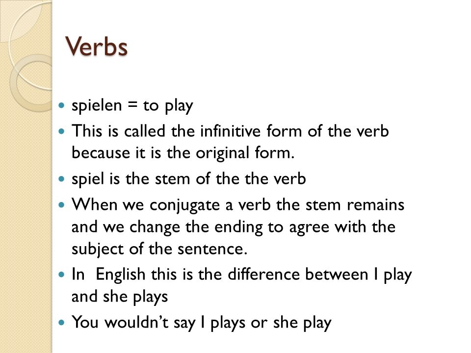 Verbs spielen = to play. This is called the infinitive form of the verb because it is the original form.