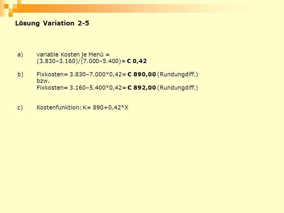 Lösung Variation 2-5 a) variable Kosten je Menü =
