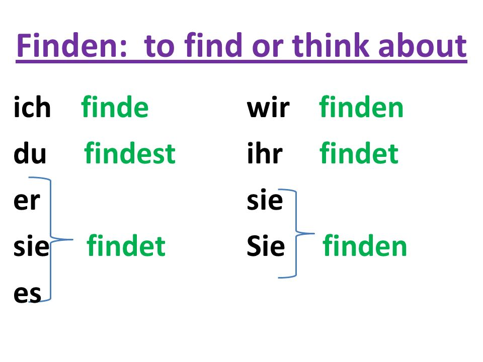 Finden: to find or think about