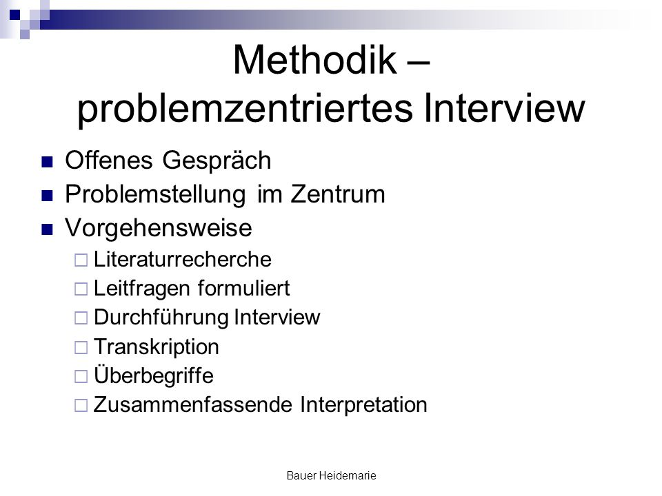 Methodik – problemzentriertes Interview