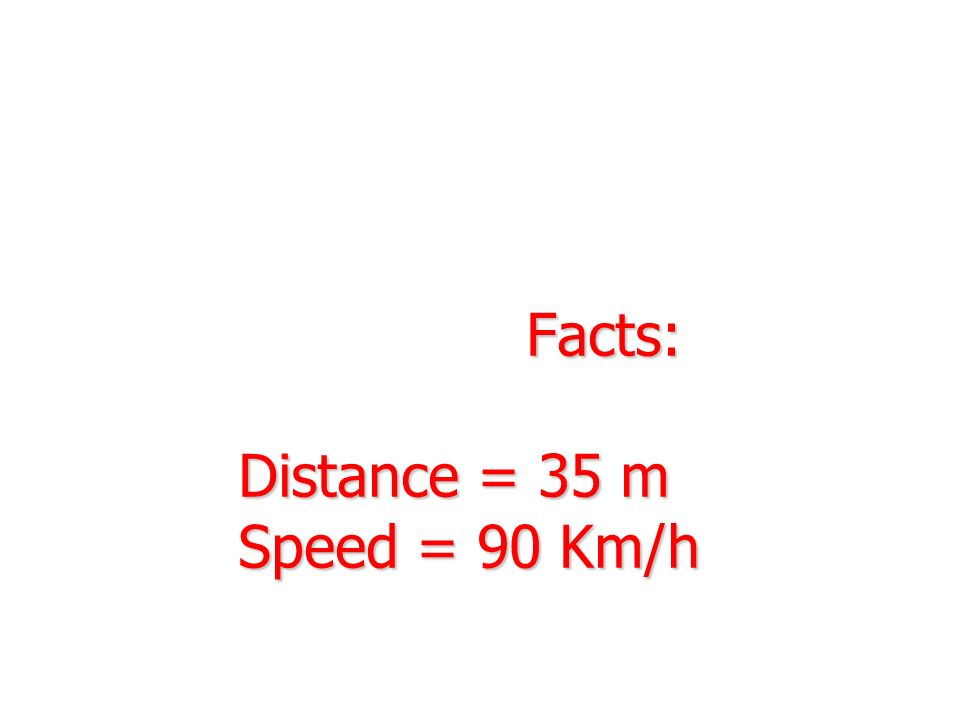 Facts: Distance = 35 m Speed = 90 Km/h