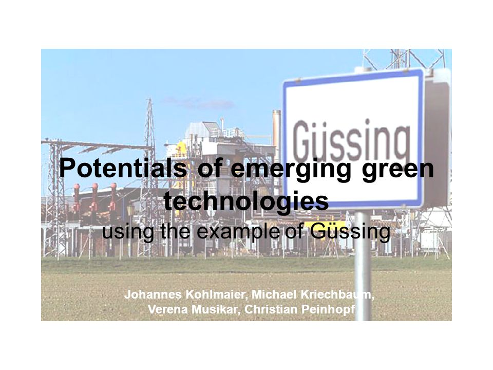 Potentials of emerging green technologies