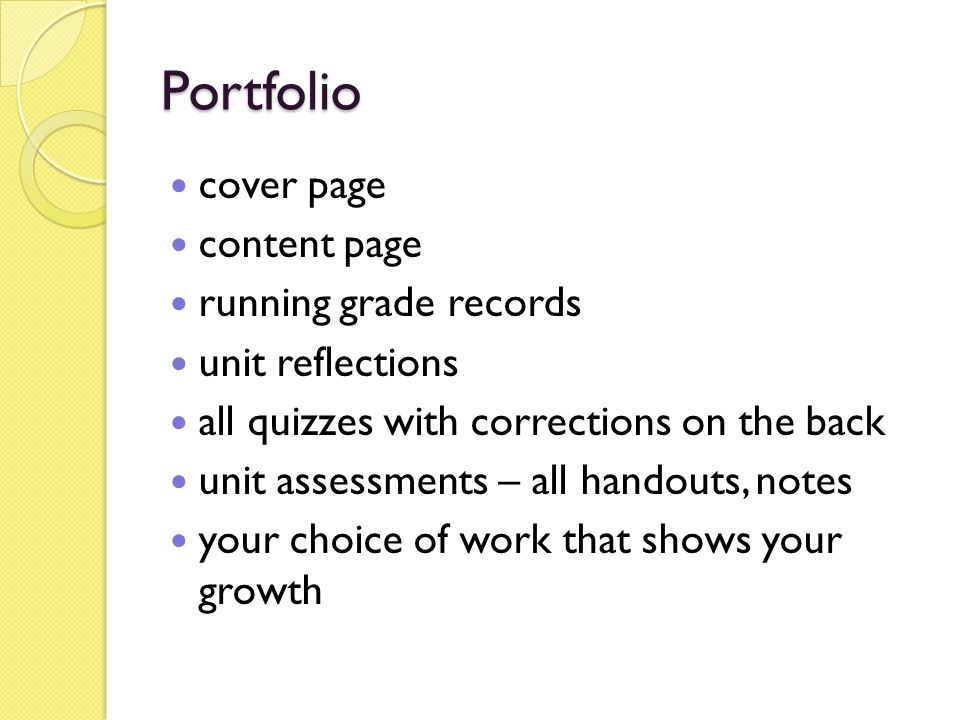 Portfolio cover page content page running grade records