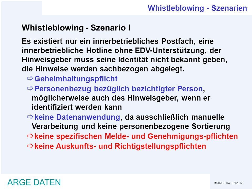 Whistleblowing - Szenario I