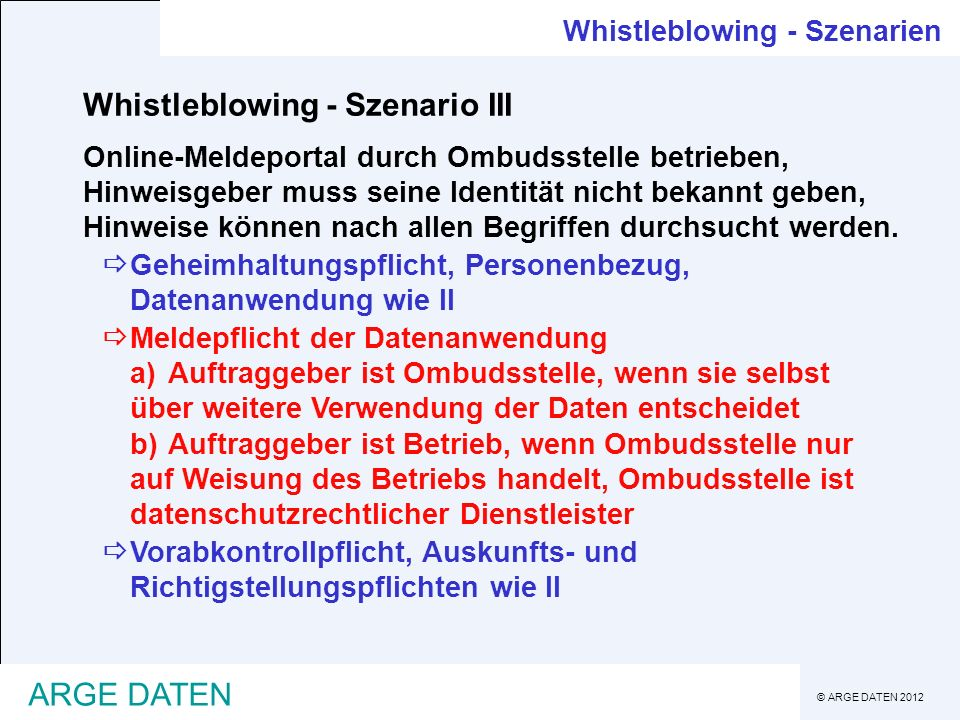 Whistleblowing - Szenario III