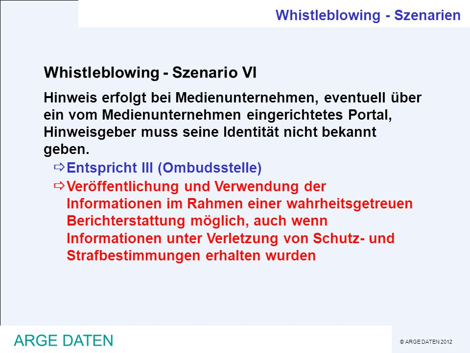 Whistleblowing - Szenario VI