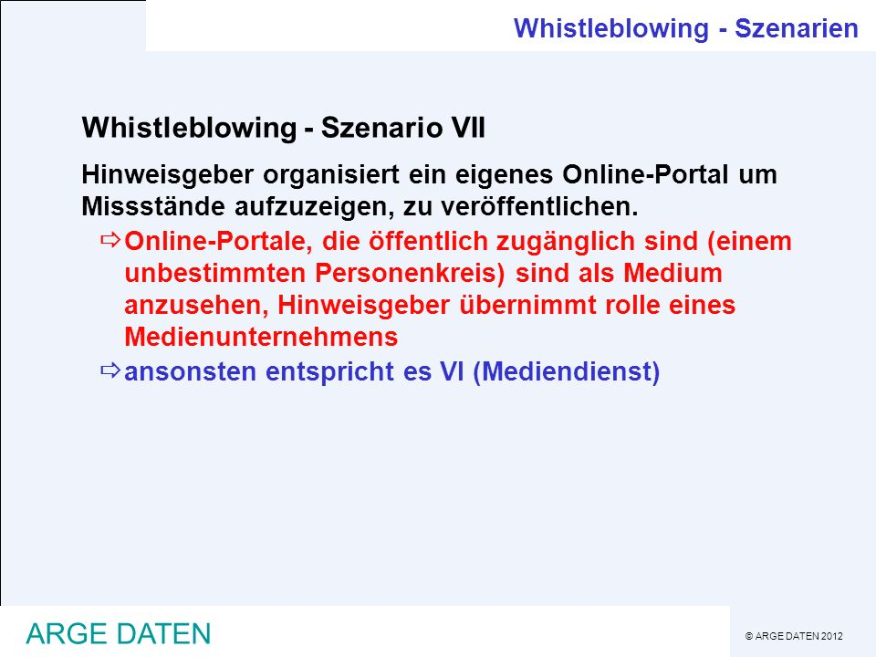Whistleblowing - Szenario VII