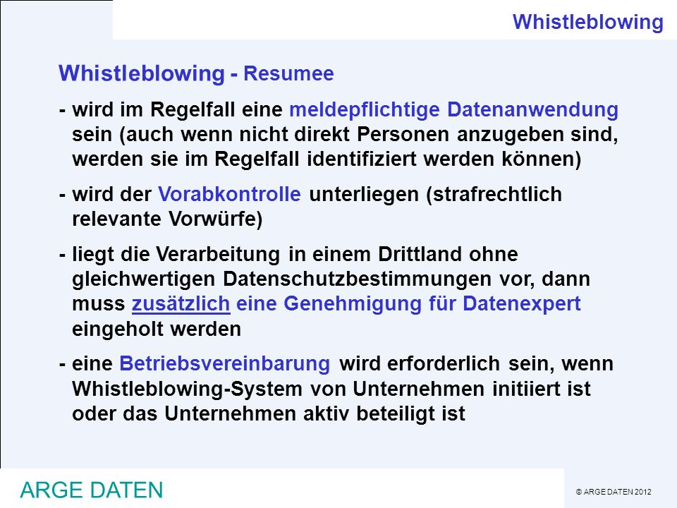 Whistleblowing - Resumee