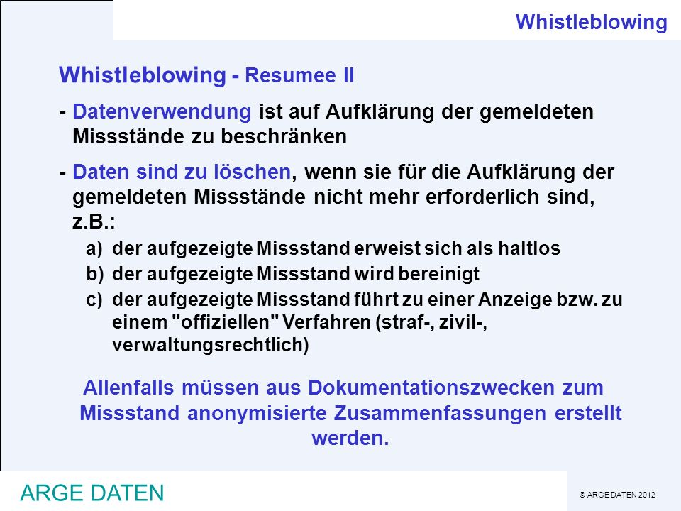 Whistleblowing - Resumee II