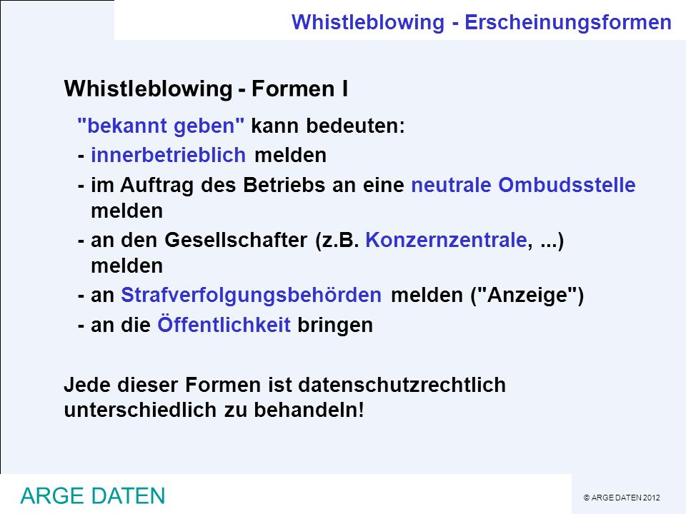 Whistleblowing - Formen I