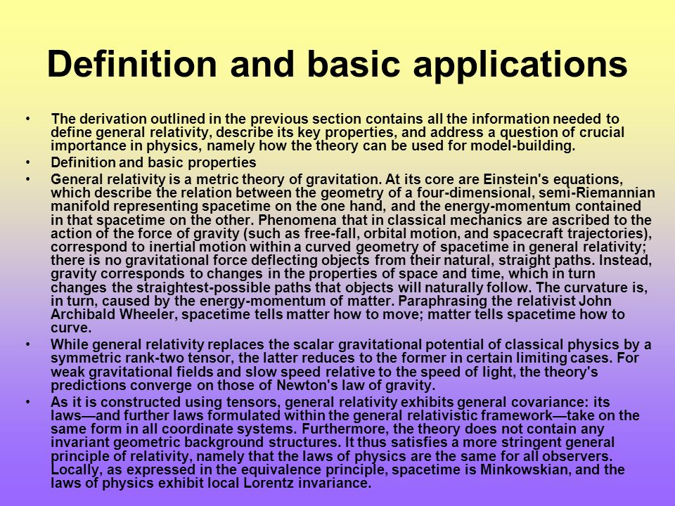 Definition and basic applications