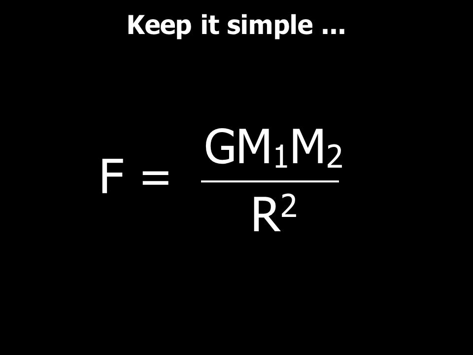Keep it simple ... GM1M2 R2 F =