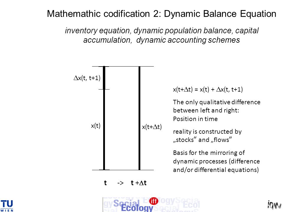 Mathemathic codification 2: Dynamic Balance Equation inventory equation, dynamic population balance, capital accumulation, dynamic accounting schemes
