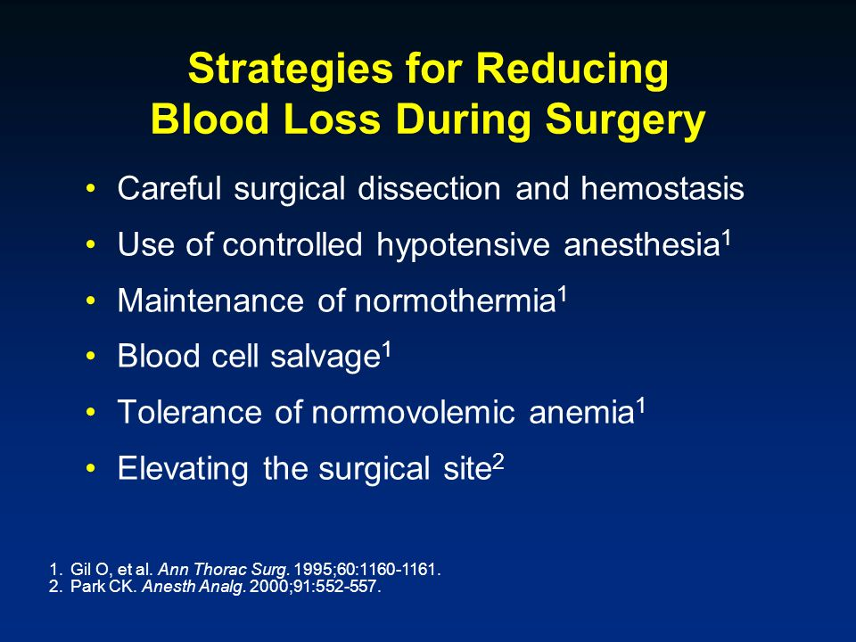 Strategies for Reducing Blood Loss During Surgery