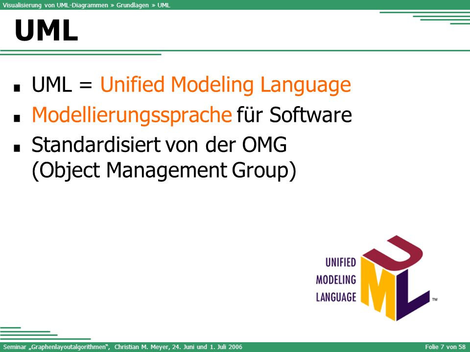 UML UML = Unified Modeling Language Modellierungssprache für Software