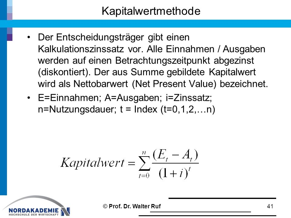 Kapitalwertmethode