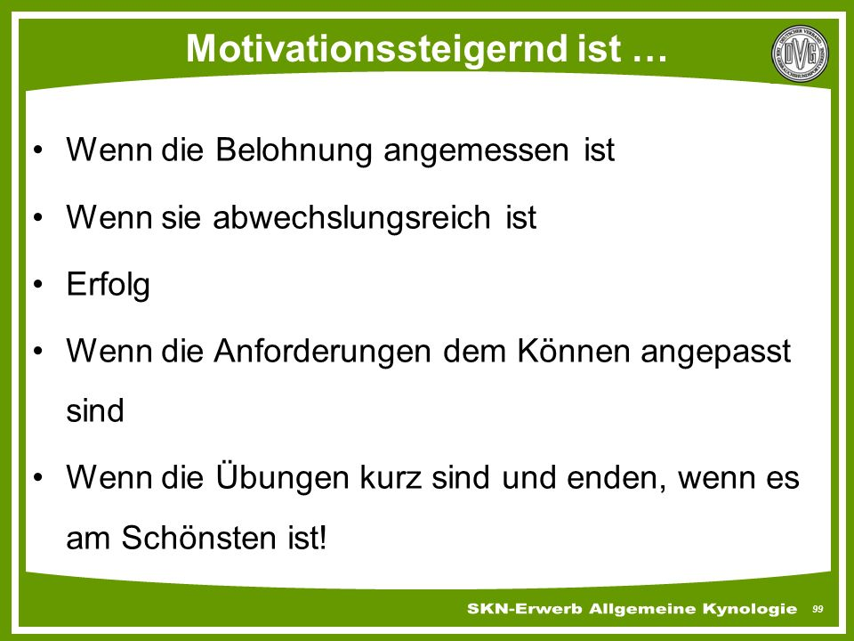 Motivationssteigernd ist …