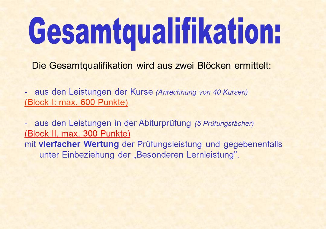 Gesamtqualifikation: