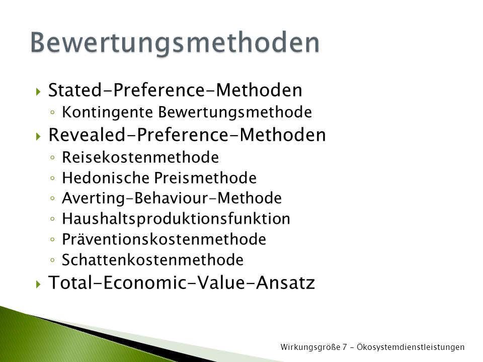 Bewertungsmethoden Stated-Preference-Methoden