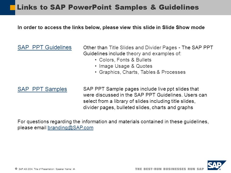 Links to SAP PowerPoint Samples & Guidelines