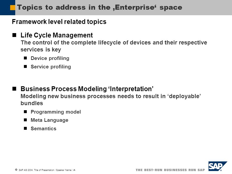 Topics to address in the 'Enterprise' space