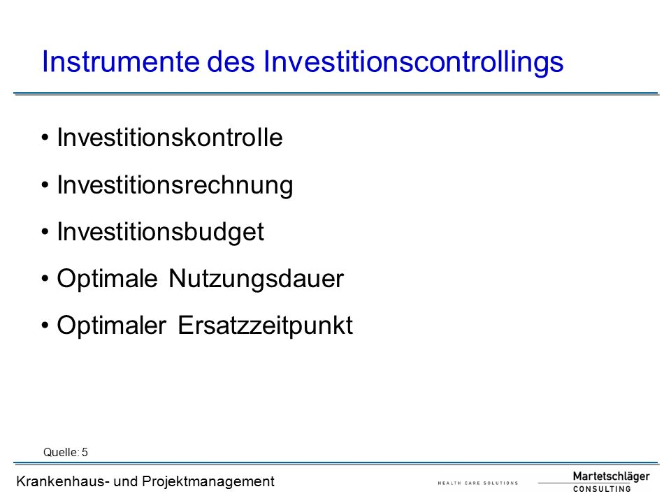Instrumente des Investitionscontrollings