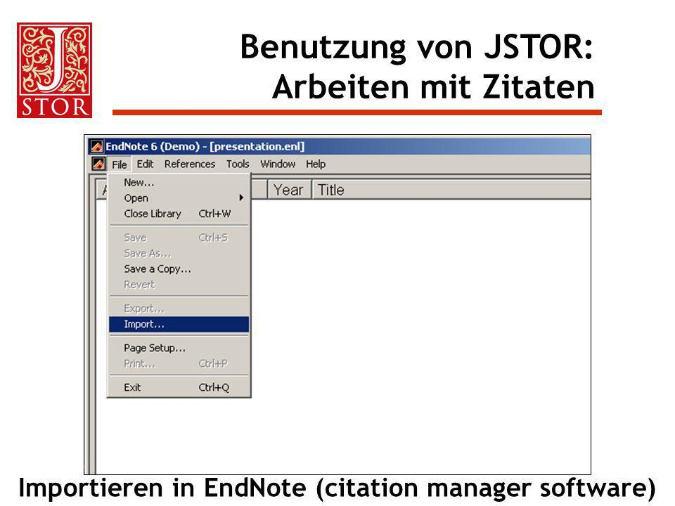 Importieren in EndNote (citation manager software)