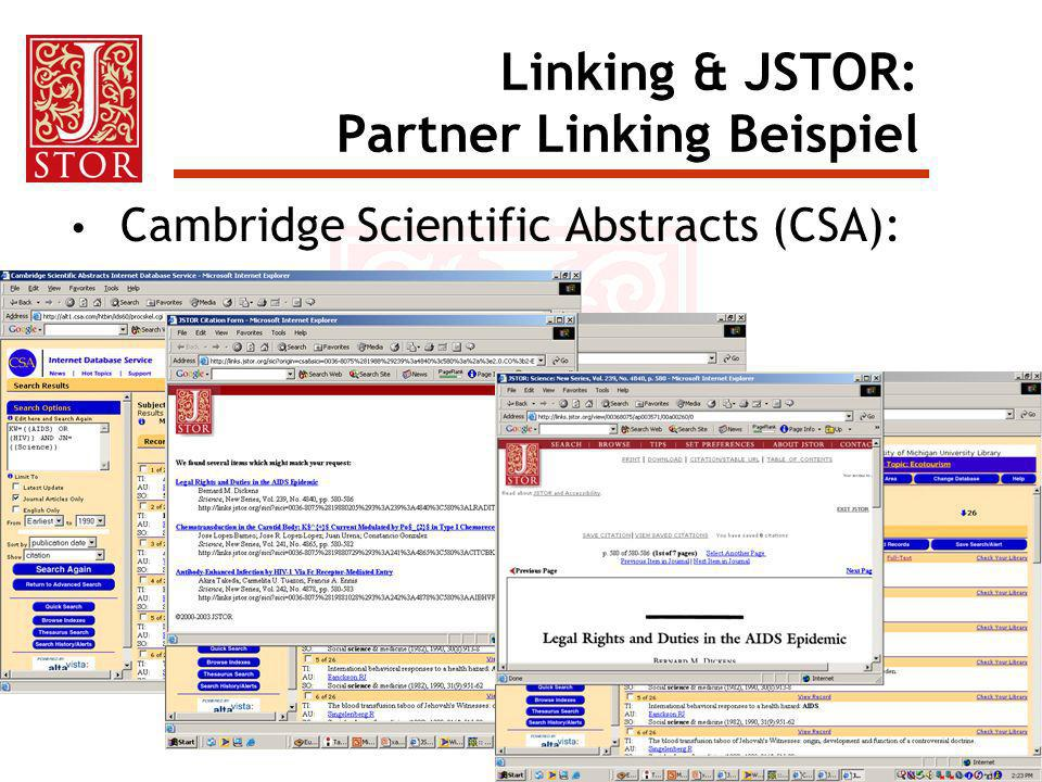 Linking & JSTOR: Partner Linking Beispiel