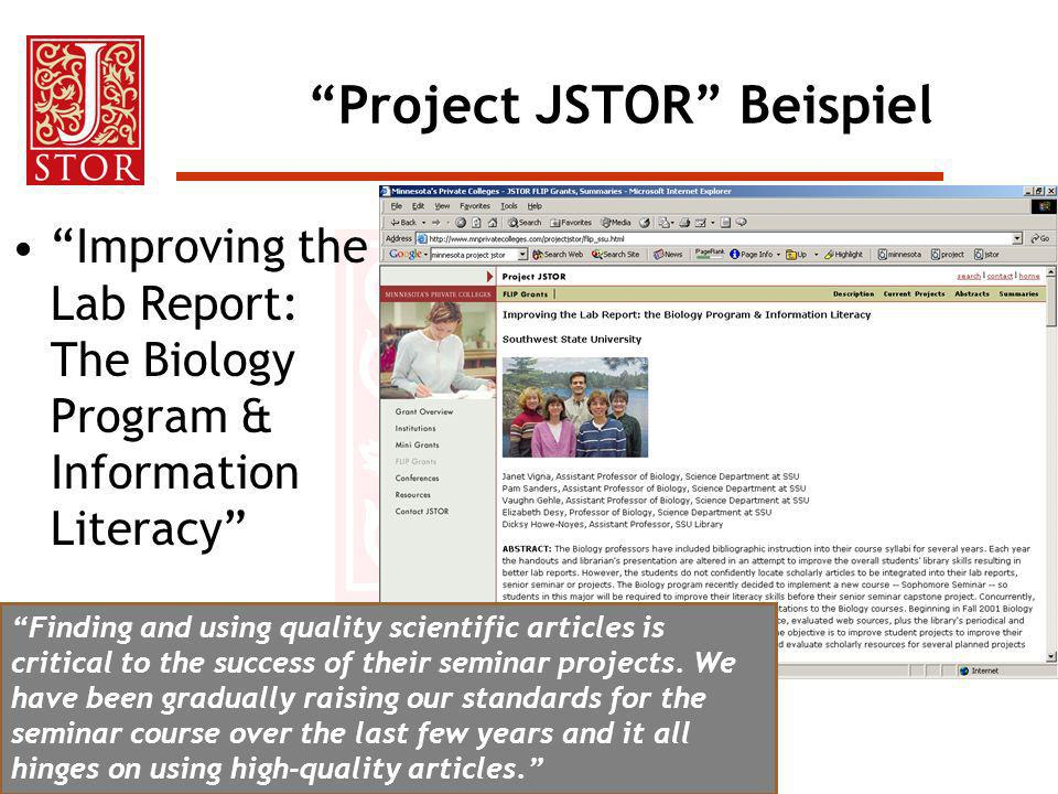 Project JSTOR Beispiel
