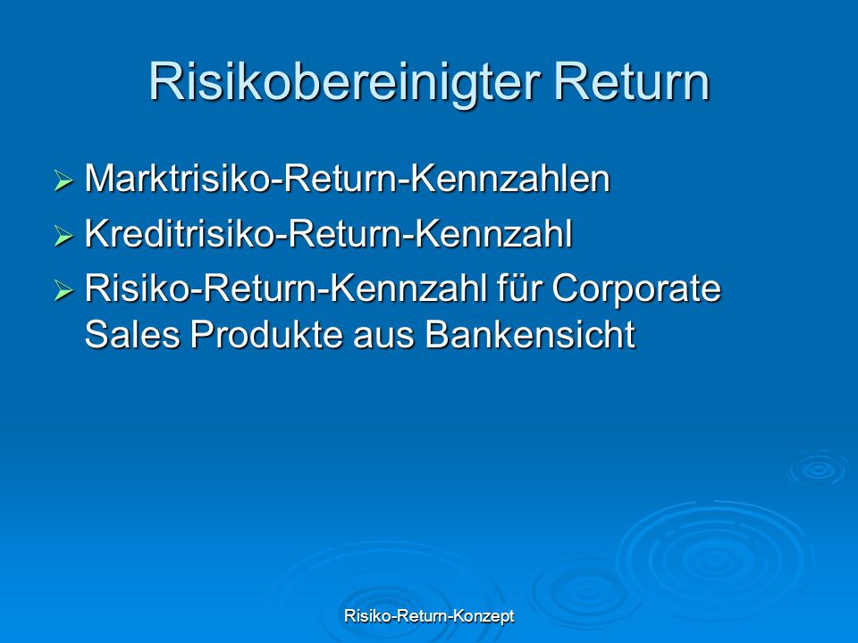 Risikobereinigter Return