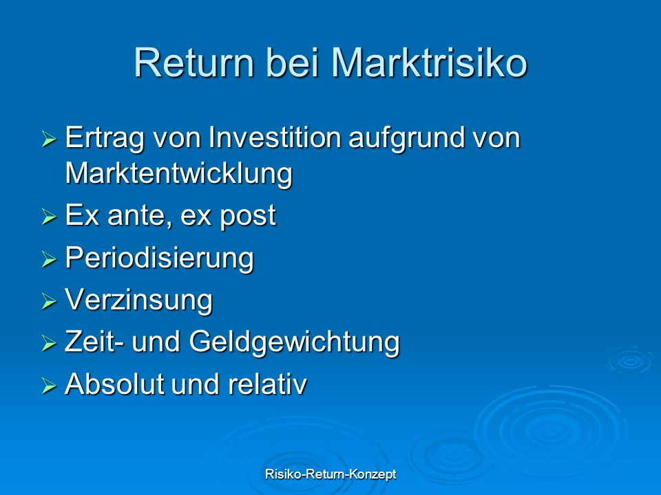 Return bei Marktrisiko