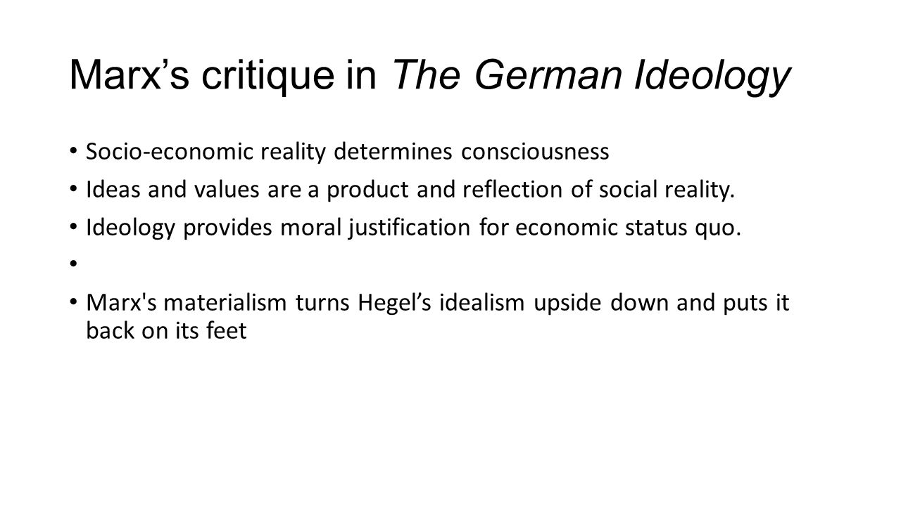 Marx's critique in The German Ideology