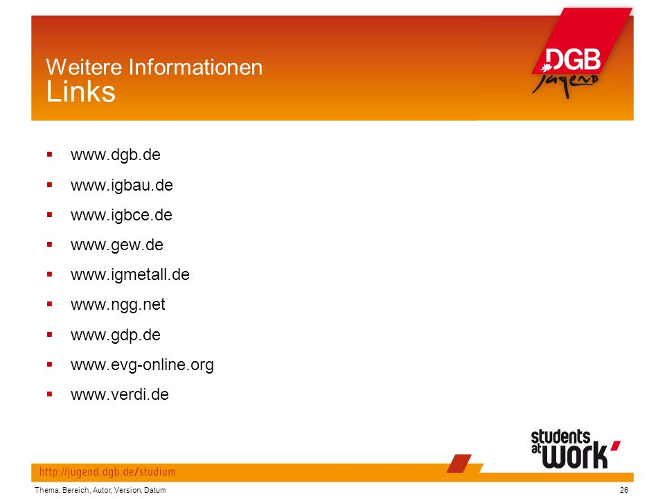Weitere Informationen Links