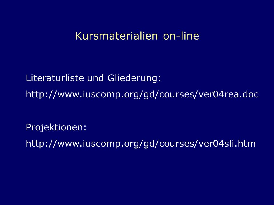Kursmaterialien on-line