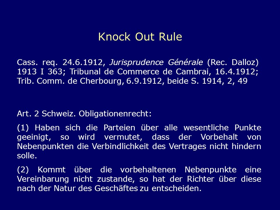 Knock Out Rule