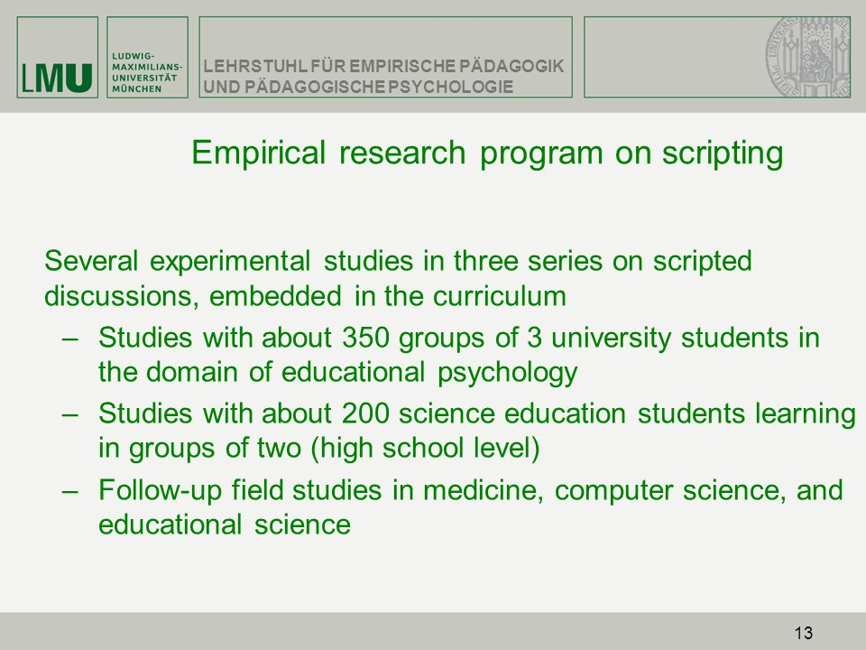 Empirical research program on scripting